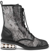 Nicholas Kirkwood Casati Embellished Lace And Leather Boots - Black