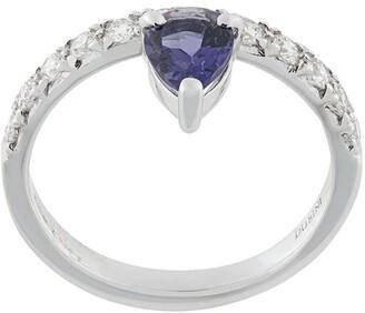 Dubini Theodora Iolite Drop 18kt white gold ring