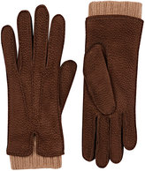 Barneys New York Women's Extended-Cuff Leather Gloves-BROWN