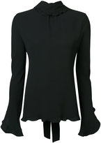Derek Lam Long Sleeve Mock Neck Open Back Blouse With Ruffle Detail