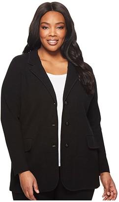 Lauren Ralph Lauren Plus Size Knit Sweater Blazer (Black) Women's Jacket