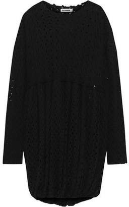 Jil Sander Gathered Crocheted Wool-blend Dress