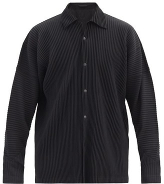 Homme Plissé Issey Miyake Dropped-shoulder Pleated-jersey Shirt - Black