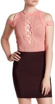 Wow Couture Cold Shoulder Front Crisscross Knit Bodysuit