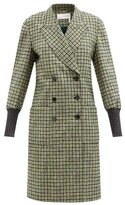 Thumbnail for your product : Chloé Ribbed-cuff Check Double-breasted Wool-blend Coat - Green Multi