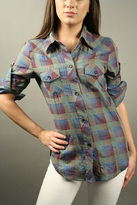 Copula Plaid Buttondown Tee - Purple