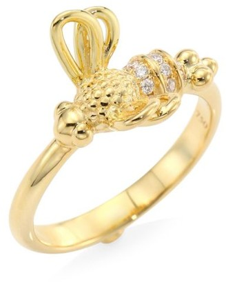 Temple St. Clair Garden of Earthly Delights Diamond & 18K Yellow Gold Bee Ring