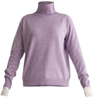 Paisie Roll Neck Knitted Top With Contrasting Cuffs In Lilac & White