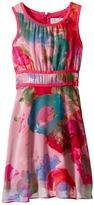 Us Angels Floral Chiffon Sleeveless Dress w/ Double Stripe Waist & Full Skirt (Big Kids)
