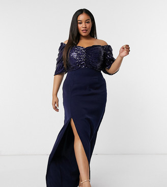 Virgos Lounge Plus off-shoulder embellished drape maxi dress with thigh slit in navy