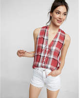 Express Plaid Lace-up Tank