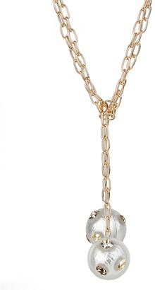 Alexis Bittar Crystal Studded Sphere Sautoir Necklace, Silver