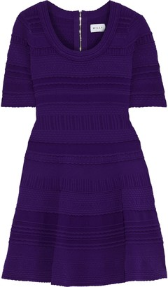 Milly Flared Scalloped Textured-knit Mini Dress