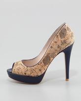 Pour La Victoire Ava Patent-Heel Cork Pump, Navy