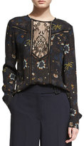 A.L.C. Noemi Long-Sleeve Floral Silk Top, Black/Multicolor