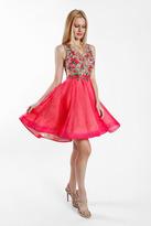 Terani Couture 1721H4575 Floral Illusion Bateau A-line Dress
