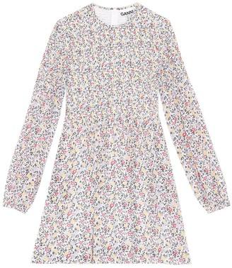 Ganni Printed Georgette Smocked Dress in Egret