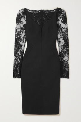 Alexander McQueen Lace-paneled Wool-blend Cady Dress - Black