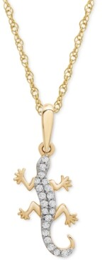 "Wrapped Diamond Lizard 18"" Pendant Necklace (1/10 ct. t.w.) in 10k Gold, Created for Macy's"