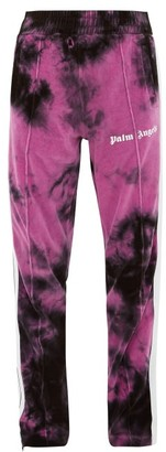 Palm Angels Tie-dyed Cotton-blend Velour Track Pants - Mens - Black Purple