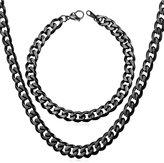 U7 Cuban Chain Necklace Bracelet Steel Chains Set For Men