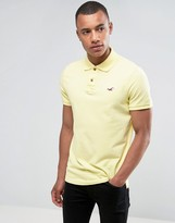 Hollister Pique Polo Slim Fit Seagull Embroidery Contrast Placket In Yellow