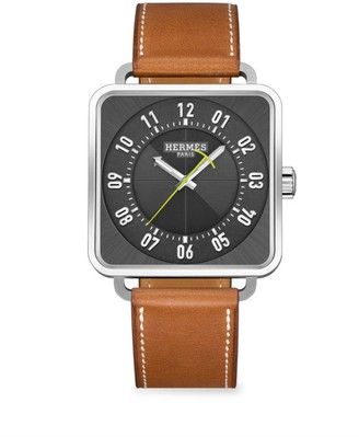 Hermes Carre H 38MM Square Stainless Steel & Leather Strap Watch