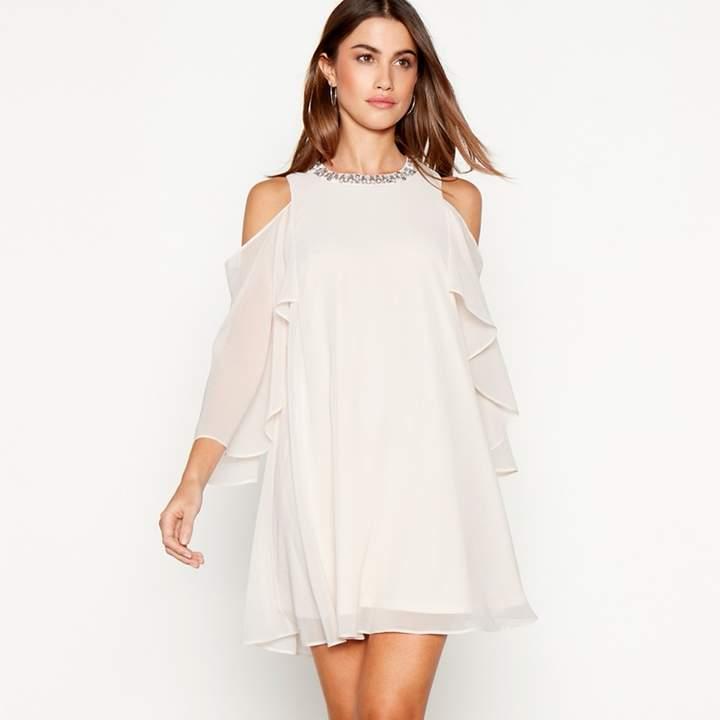 Debut - Rose Embellished Chiffon 'Cadence' Round Neck Cold Shoulder Mini Dress