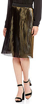 Antonio Melani Mulan Pleated A-Line Metallic Skirt