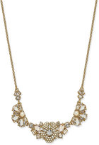 Kate Spade Gold-Tone Imitation Pearl and Crystal Flower Statement Necklace
