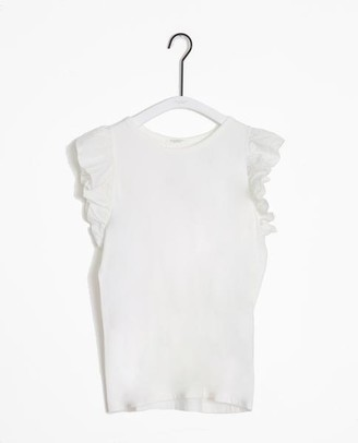 Beaumont Organic Zooey May Organic Cotton Linen Top In Off White - Off White / Large