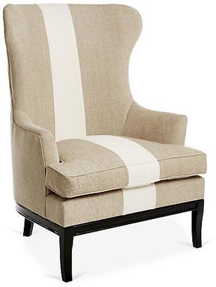 Kim Salmela Calhoun Wingback Chair - Tan/Ivory Stripe