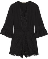 Rachel Zoe Rita Silk Chiffon-timmed Crepe De Chine And Lace Playsuit - Black