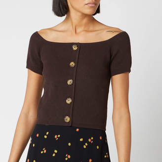 Whistles Women's Button Front Rib Knit - Brown - S - Brown