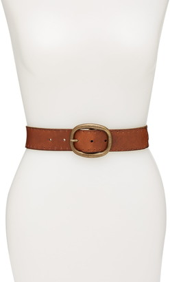 Frye Perforated Edge Leather Panel Belt