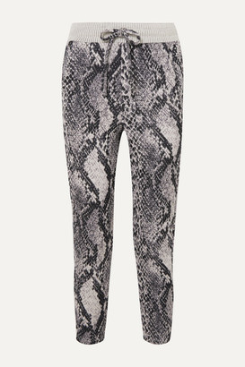 Twenty Montreal Strike Cropped Cotton-blend Snake-jacquard Track Pants - Snake print