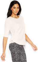 Bar III Short-Sleeve Lace-Trim Top