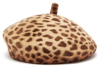Lola Hats Frenchy Leopard-print Felt Beret - Brown
