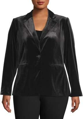Calvin Klein Plus Single-Breasted Velvet Blazer