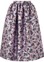 Erdem Hebe Metallic Brocade Midi Skirt - Lilac