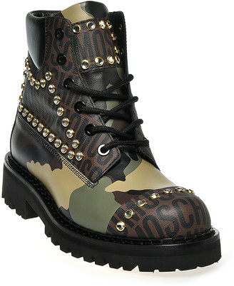 Moschino Men's Studded Logo Camo-Print Combat Boots