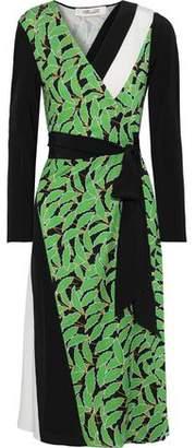 Diane von Furstenberg Maureen Printed Silk-jersey And Crepe De Chine Wrap Dress