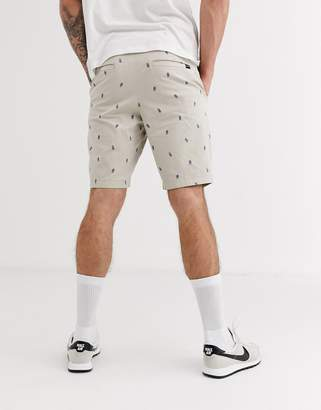 Hollister chino shorts in pineapple print-Beige