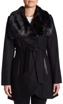 Rachel Roy Faux Fur Collar Wool Blend Coat With Faux Leather Detail