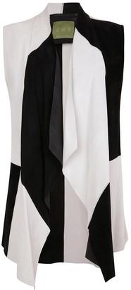 Zut London Suede Leather Sleeveless Jacket - Black & White Patchwork