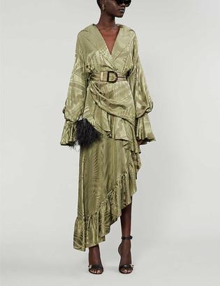 Balmain Asymmetric ruffled-trim silk-blend midi dress