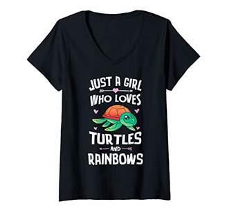 Womens Turtles And Rainbows Cute Shirt Girls Women V-Neck T-Shirt