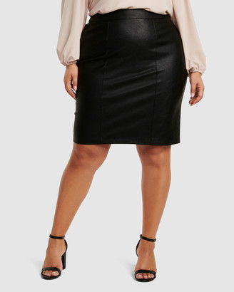 Forever New Curve Adelle Faux Leather Curve Pencil Skirt