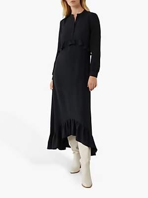 Warehouse Trapeze Tiered Midi Shirt Dress, Black