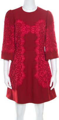 Dolce & Gabbana Red Floral Lace Applique Detail Fit and Flare Dress S